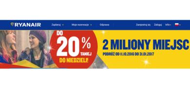 promocja ryanair 2 miliony biletów taniej o 20%