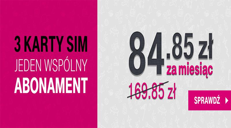 Promocja T-Mobile 3 karty SIM jeden wspólny abonament