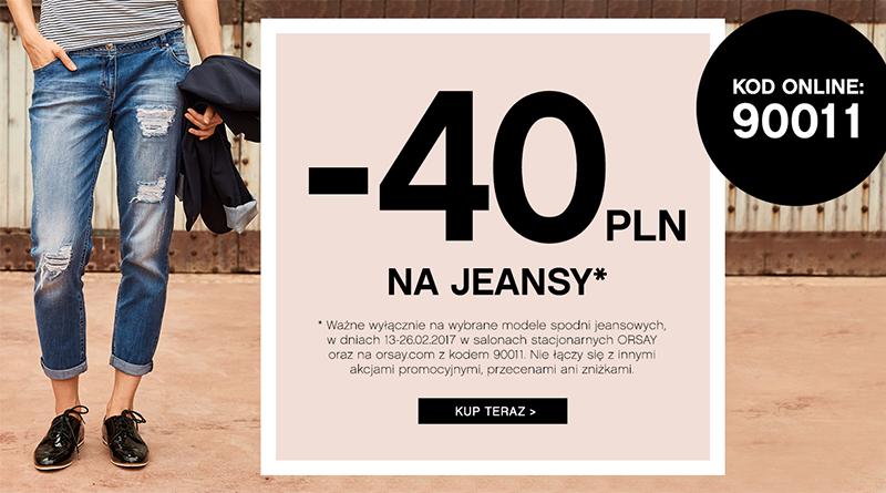 -40 zł na jeansy w sklepie Orsay