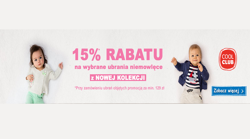 Rabat 15% w sklepie Smyk na wybrane ubrania niemowlęce