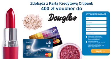 Załóż kartę kredytową Citibank i odbierz voucher 400 zł do Douglas