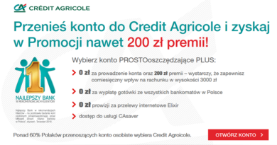 Przenieś konto do Credit Agricole i zyskaj 200 zł premii