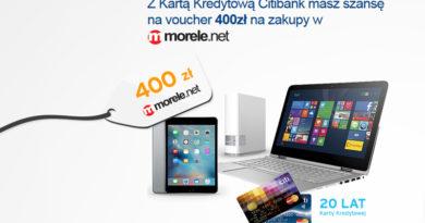 Voucher Morele.net o wartości 400 zł za założenie karty kredytowej Citibank