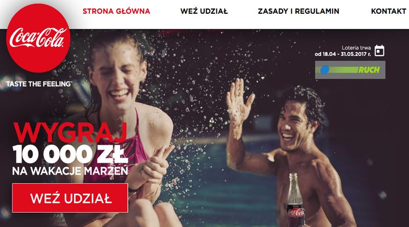 Loteria Coca Cola Wygraj 10 000 zł na wakacje marzeń