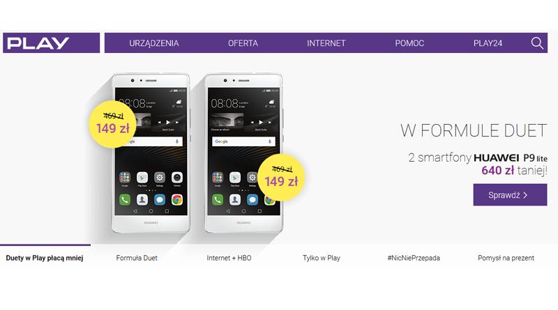 2 smartfony Huawei P9 lite 640 zł taniej w Play