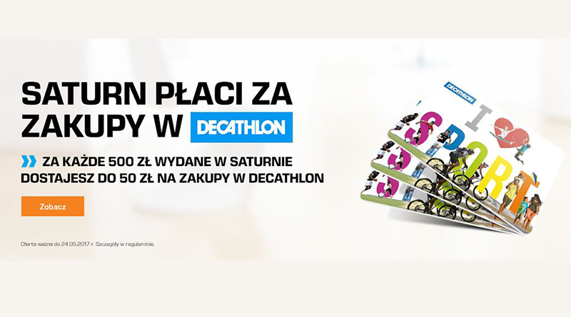 Saturn płaci za zakupy w Decathlon