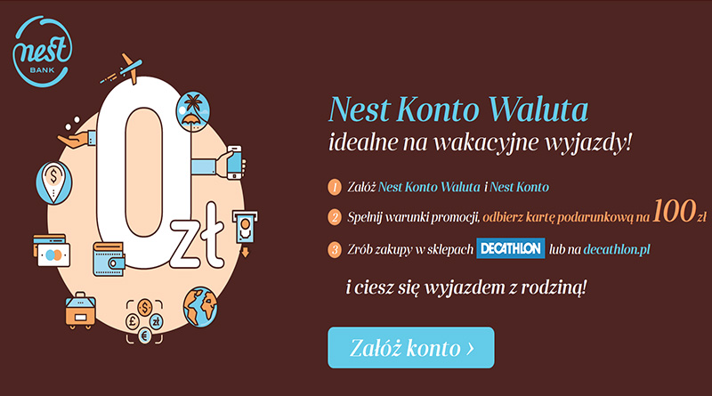 Załóż konto w Nest Banku i odbierz 100 złotych do Decathlon