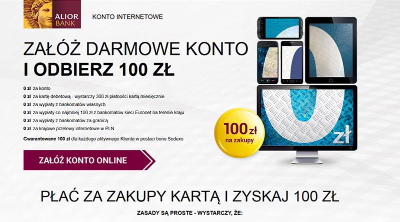 100 zł na zakupy za założenie internetowego konta Alior Bank
