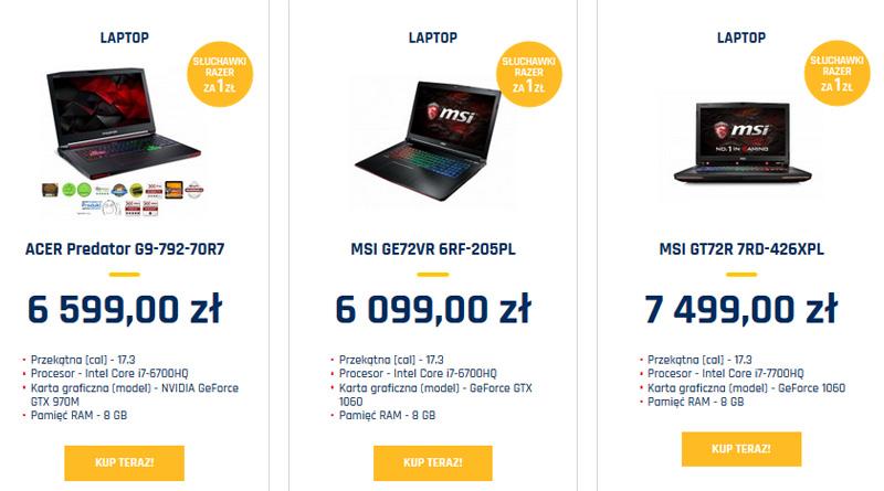Promocyjne laptopy