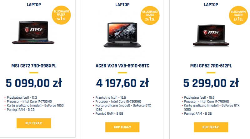 Promocyjne modele laptopów