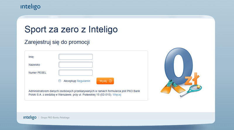 Promocje Inteligo: 150 złotych do wydania w Intersport za założenie konta
