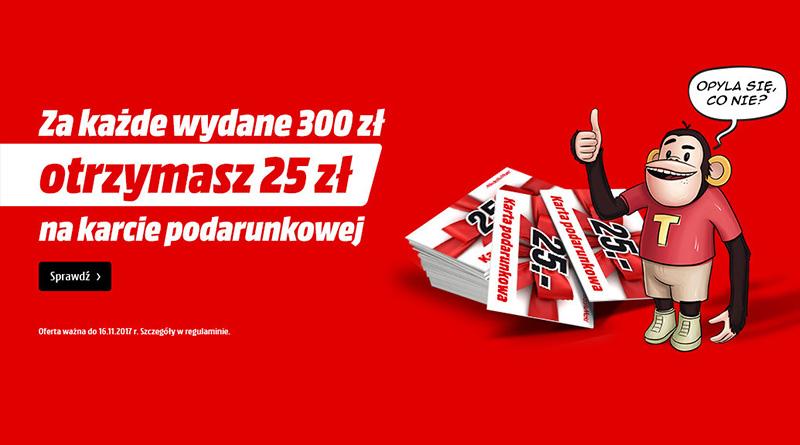 Za każde wydane 300 zł otrzymasz 25 zł w Media Markt
