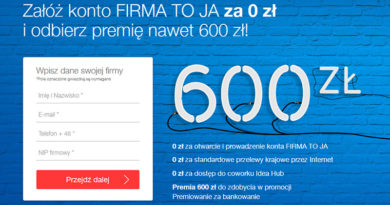 Załóż konto w IdeaBank FIRMA TO JA i odbierz premię do 600 zł!
