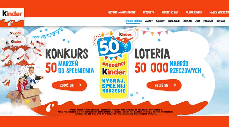 Konkurs Kinder: 50 Urodziny Kinder – wygraj marzenia