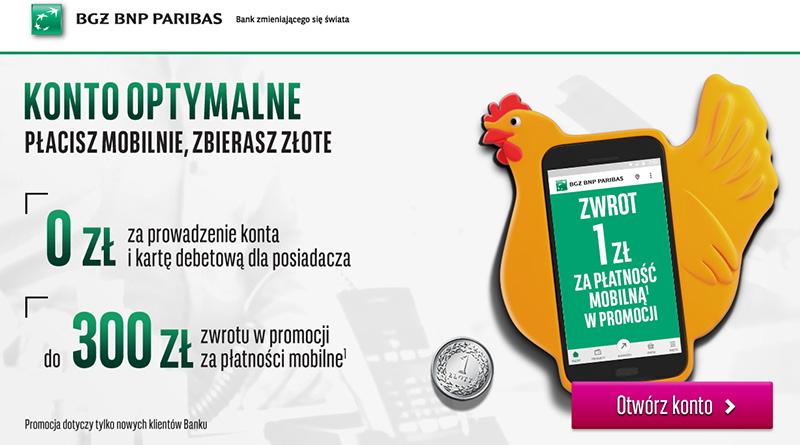 Konto optymalne BGŻ BNP Paribas - Płacisz mobilnie, zbierasz złote