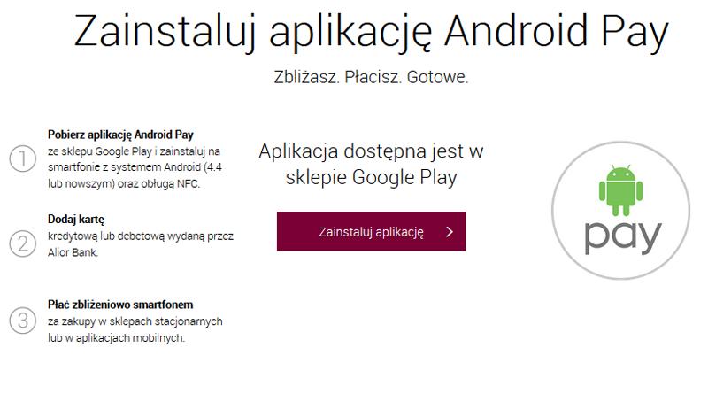 Instalowanie aplikacji Android Pay