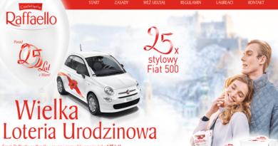 Wygraj stylowy Fiat 500 w Wielkiej Loterii Urodzinowej Raffaello
