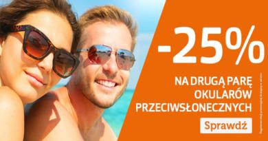 25% rabatu na drugą parę okularów przeciwsłonecznych w Vision Express