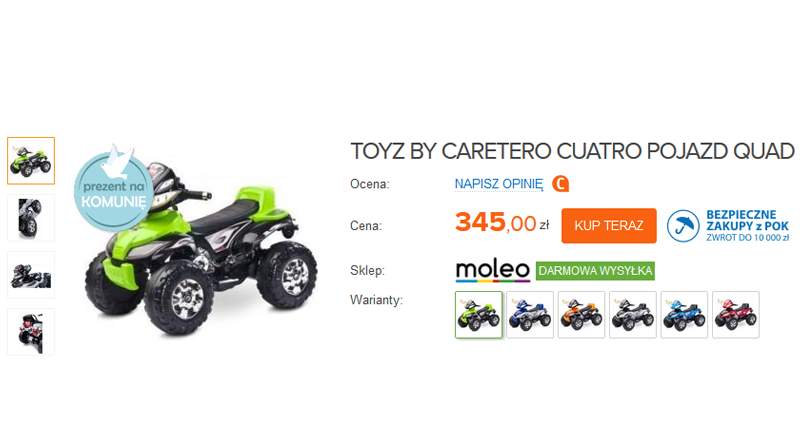 quad jako pomysł na prezent dla dziecka