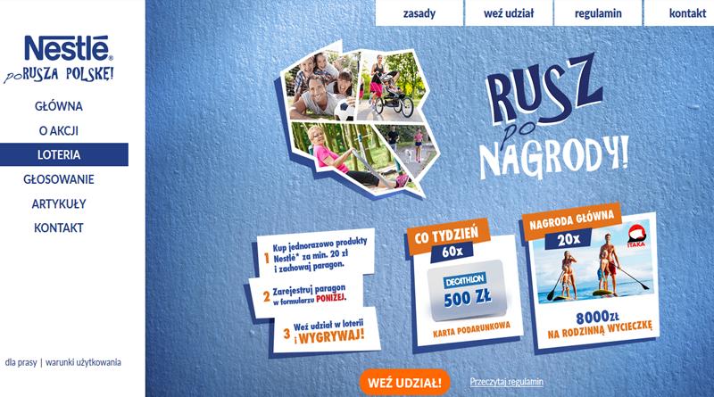 Loteria Nestle Nestle Porusza Polskę, rusz po Nagrody!