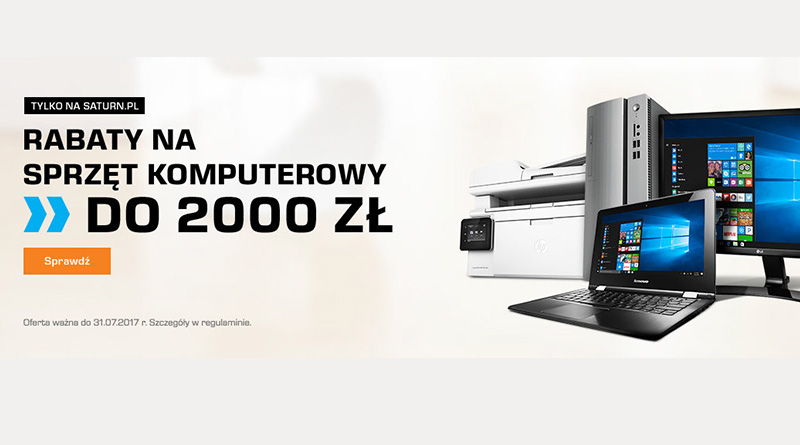 Sprzęt komputerowy do 2000 zł taniej w salonie Saturn