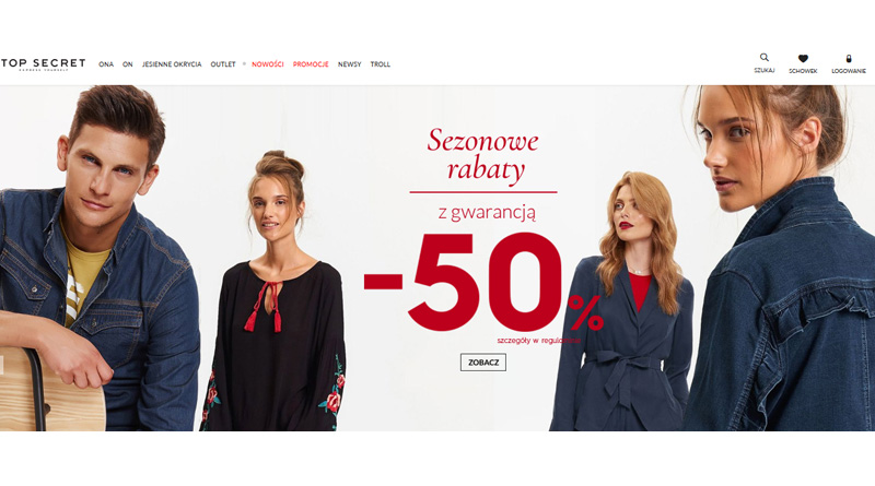 Sezonowe rabaty do -50% w sklepie Top Secret