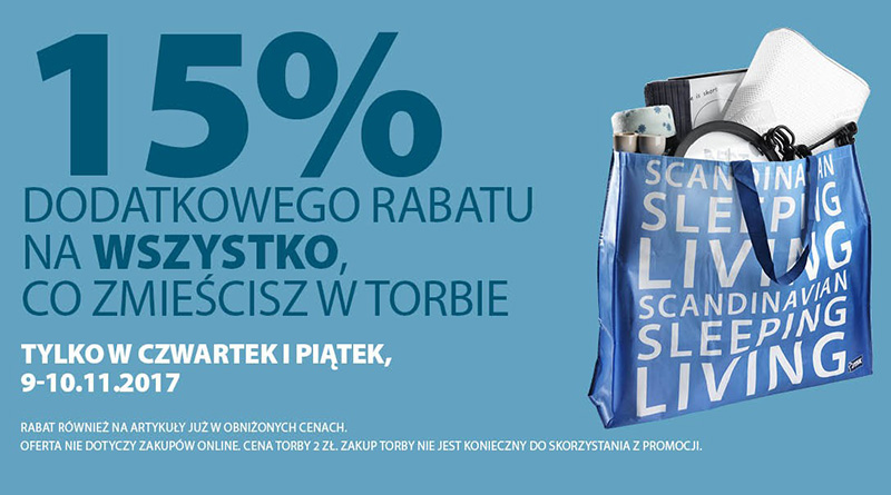 Rabat 15% na wszystko w sklepie Jysk
