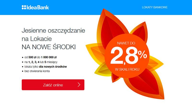 Lokata terminowa 2,8% na NOWE ŚRODKI w IdeaBank