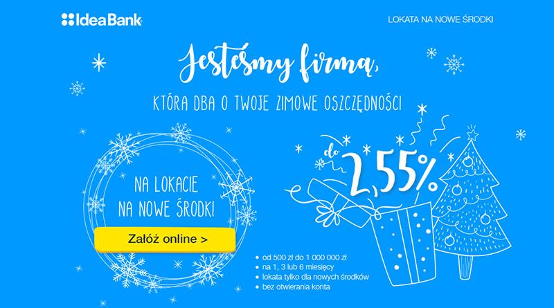 2,55% na lokacie na nowe środki w IdeaBank