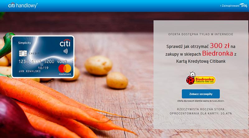 Voucher 300 zł do Biedronki za założenie Karty Kredytowej Citibank
