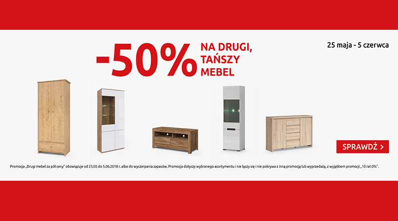 Rabat 50% na drugi mebel w Black Red White