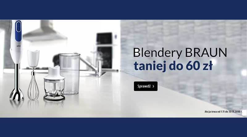 Blendery Braun taniej do 60 zł w Media Markt